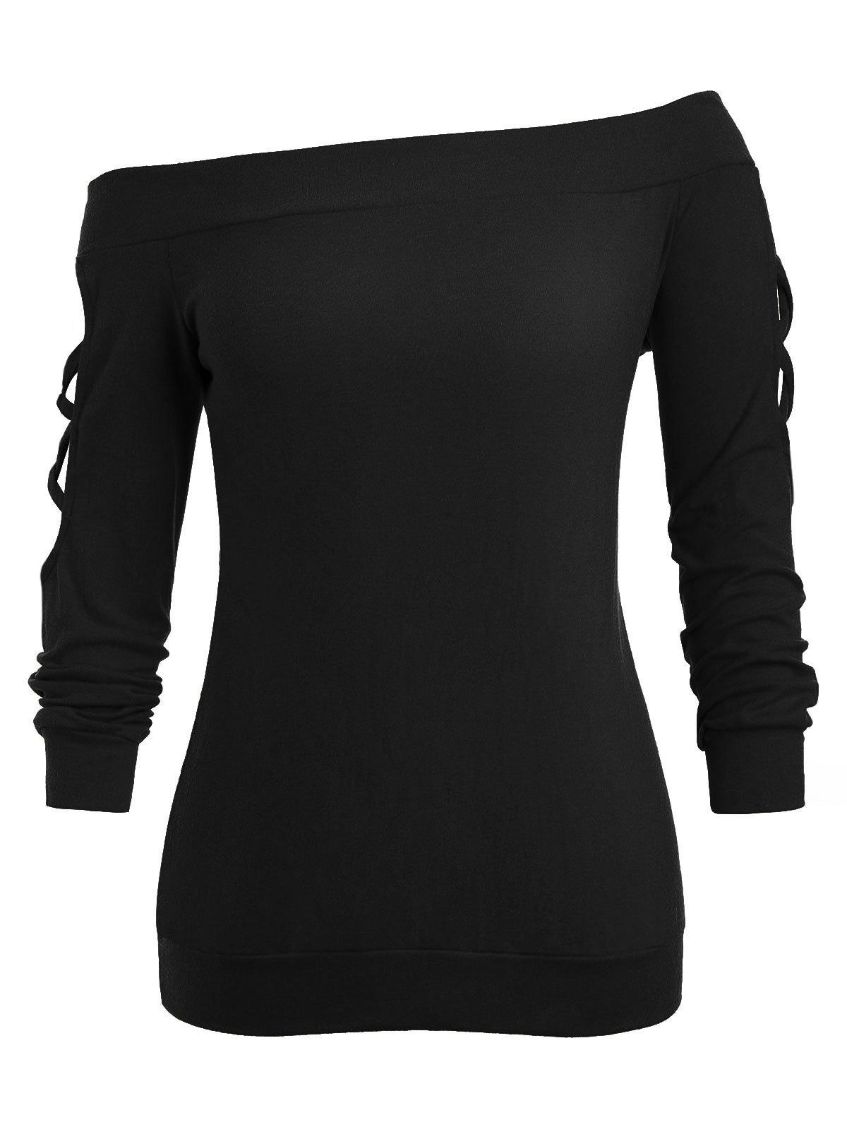 Affordable Plus Size Lattice Off The Shoulder Sweatshirt