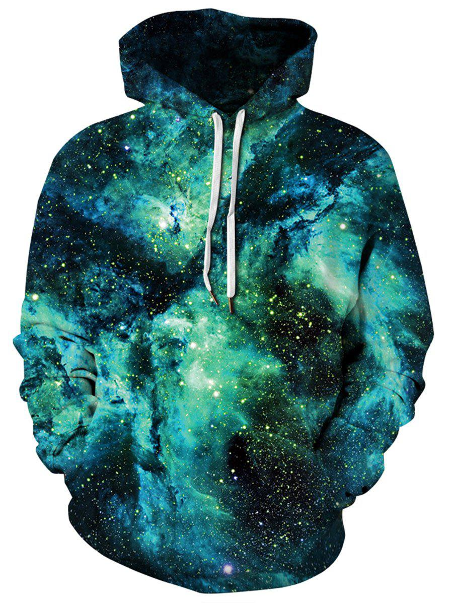 Chic Plus Size Allover Starry Galaxy Print Kangaroo Pocket Hoodie