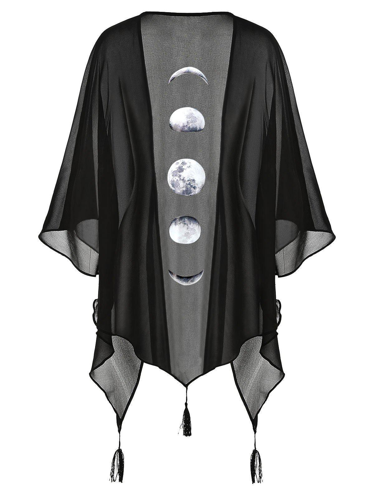 Buy Plus Size Halloween Lunar Eclipse Print Tassel Asymmetric Kimono Shirt