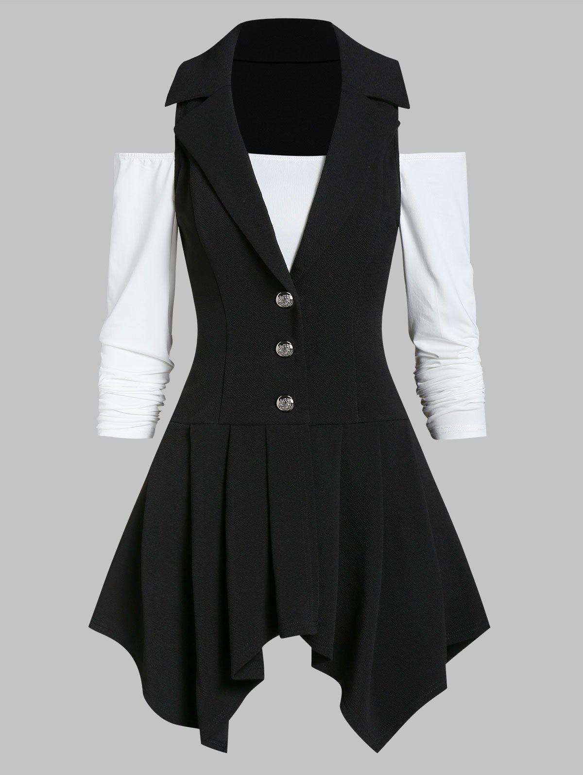 Discount Off The Shoulder Solid T Shirt with Asymmetrical Vest