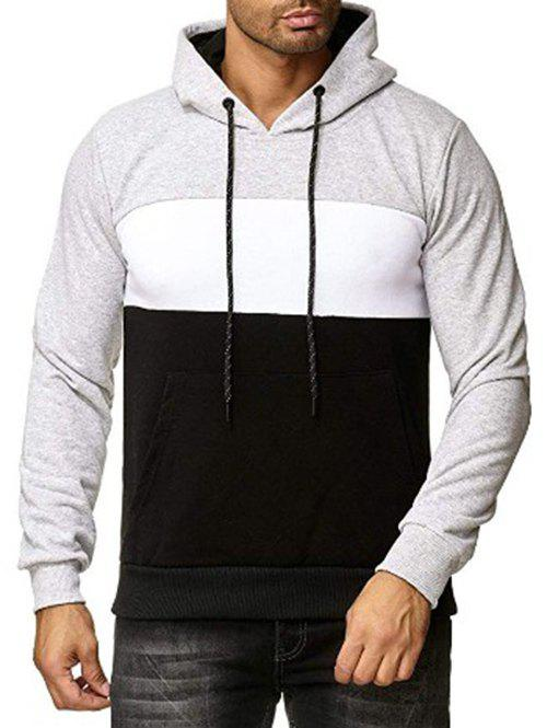 Cheap Colorblock Print Casual Drawstring Hoodie