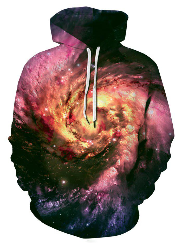 Outfit Plus Size Allover Galaxy Print Kangaroo Pocket Hoodie