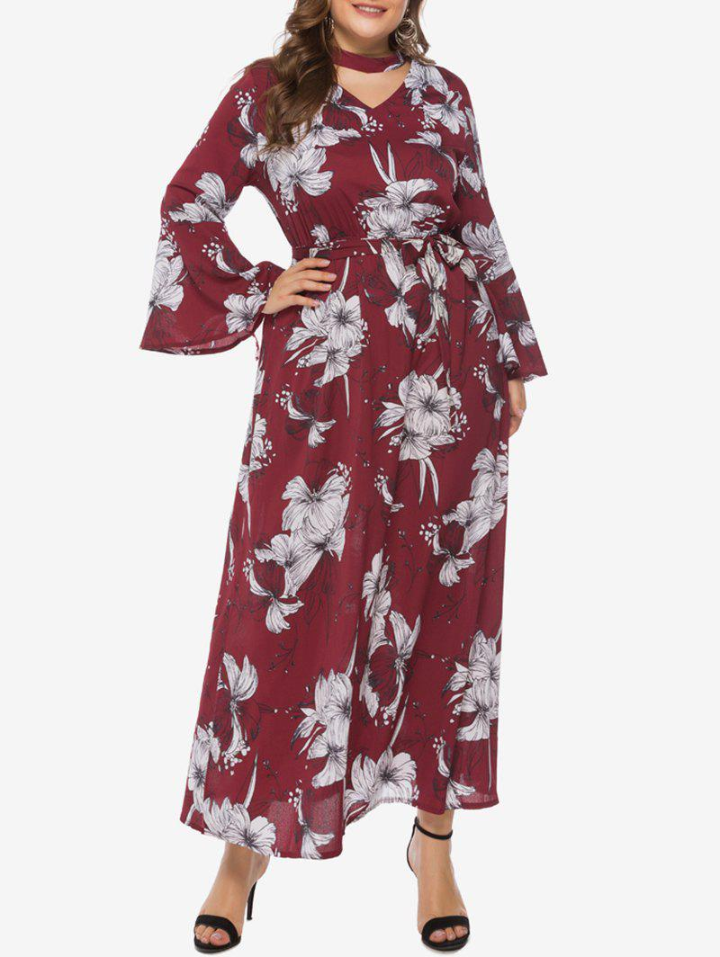 Latest Belted Floral Choker Flare Sleeve Plus Size Maxi Dress