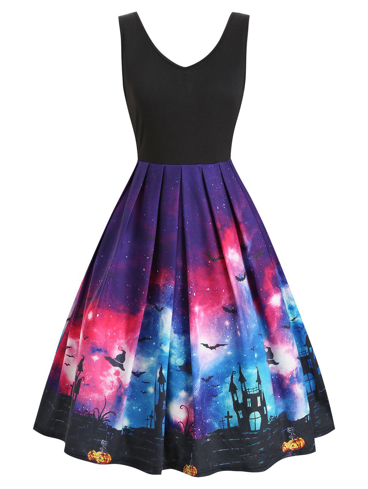 Cheap Galaxy Bat Graphic A Line Halloween Dress