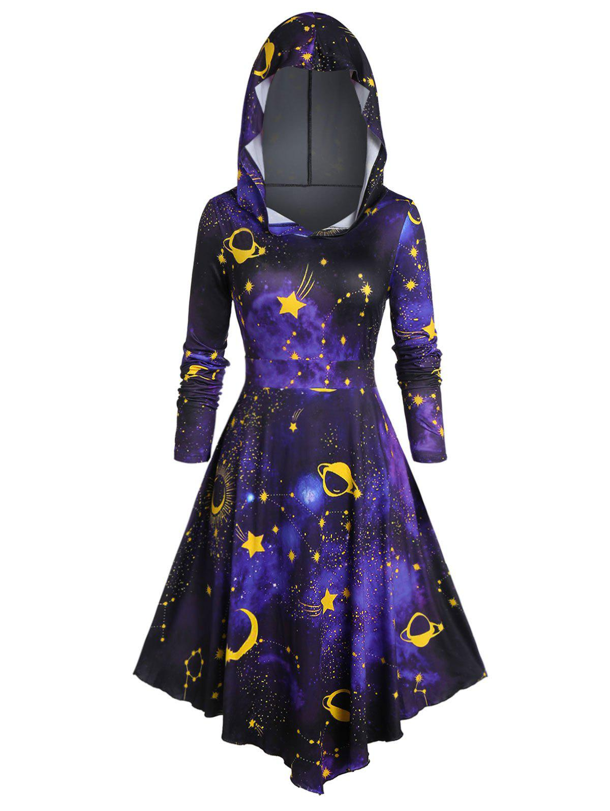 Fancy Plus Size Hooded 3D Galaxy Print Halloween Dress