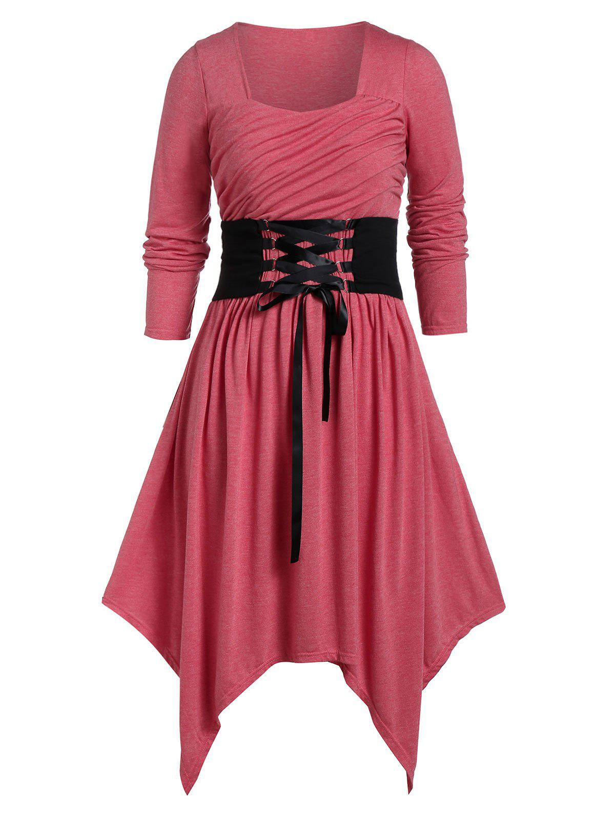 Latest Plus Size Asymmetrical Sweetheart Collar Lace Up Dress