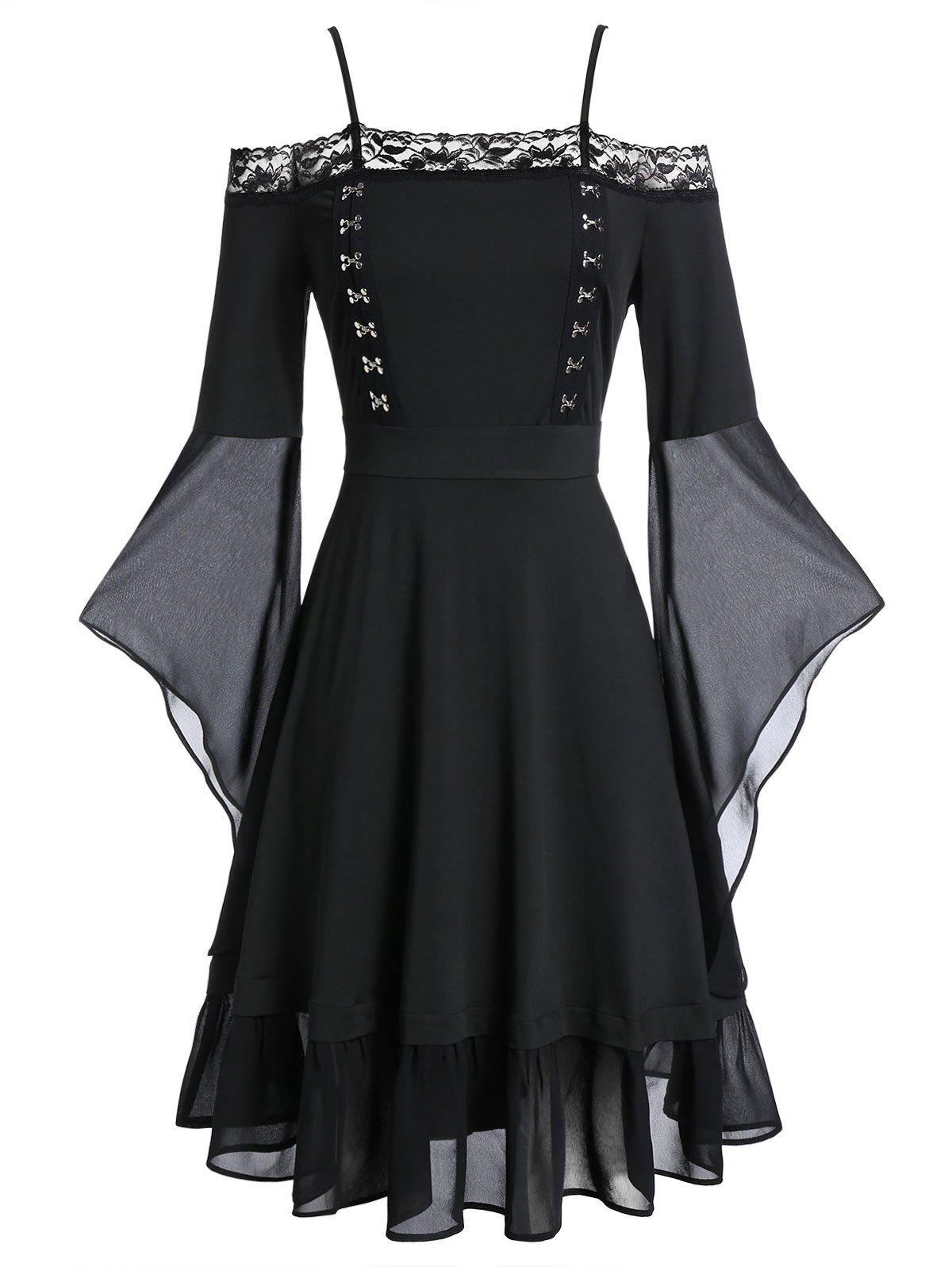 Discount Plus Size Hook and Eye Flare Sleeve Gothic Halloween Dress