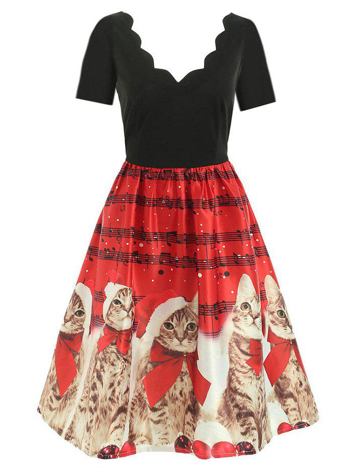 Shops Scalloped Musical Notes Cat V Neck Christmas Dress