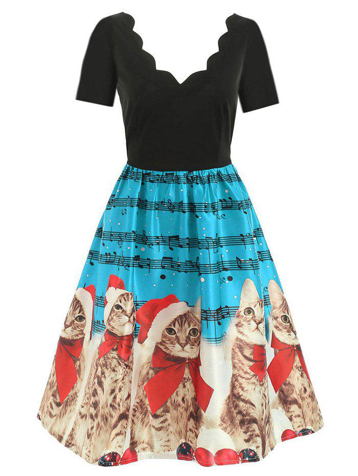 Fashion Scalloped Musical Notes Cat V Neck Christmas Dress