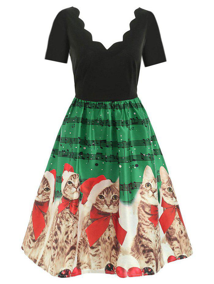 New Scalloped Musical Notes Cat V Neck Christmas Dress