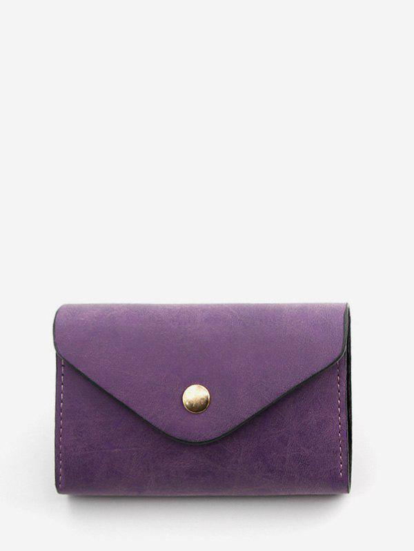 Online Snap Button PU Leather Card Bag