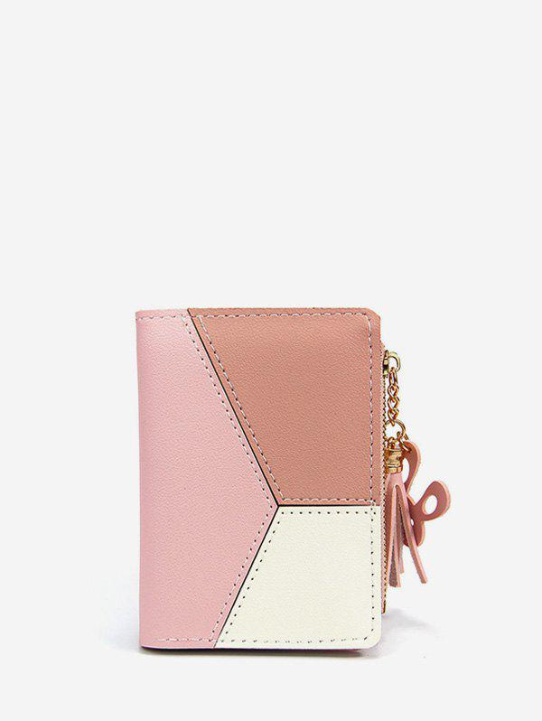 Online Color Block PU Leather Card Holder