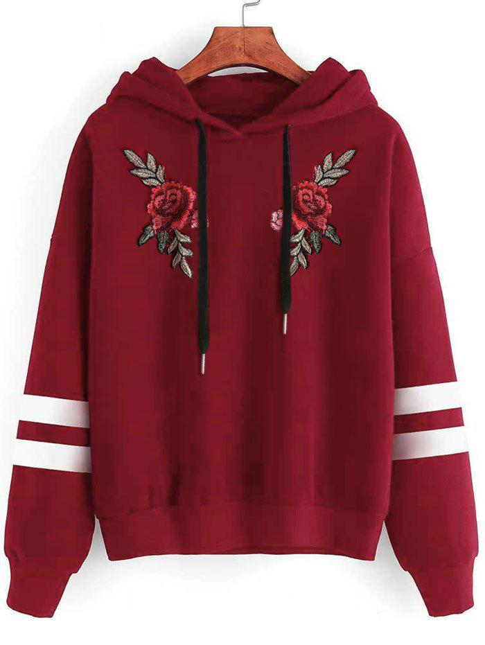 Cheap Plus Size Drawstring Embroidery Pullover Hoodie