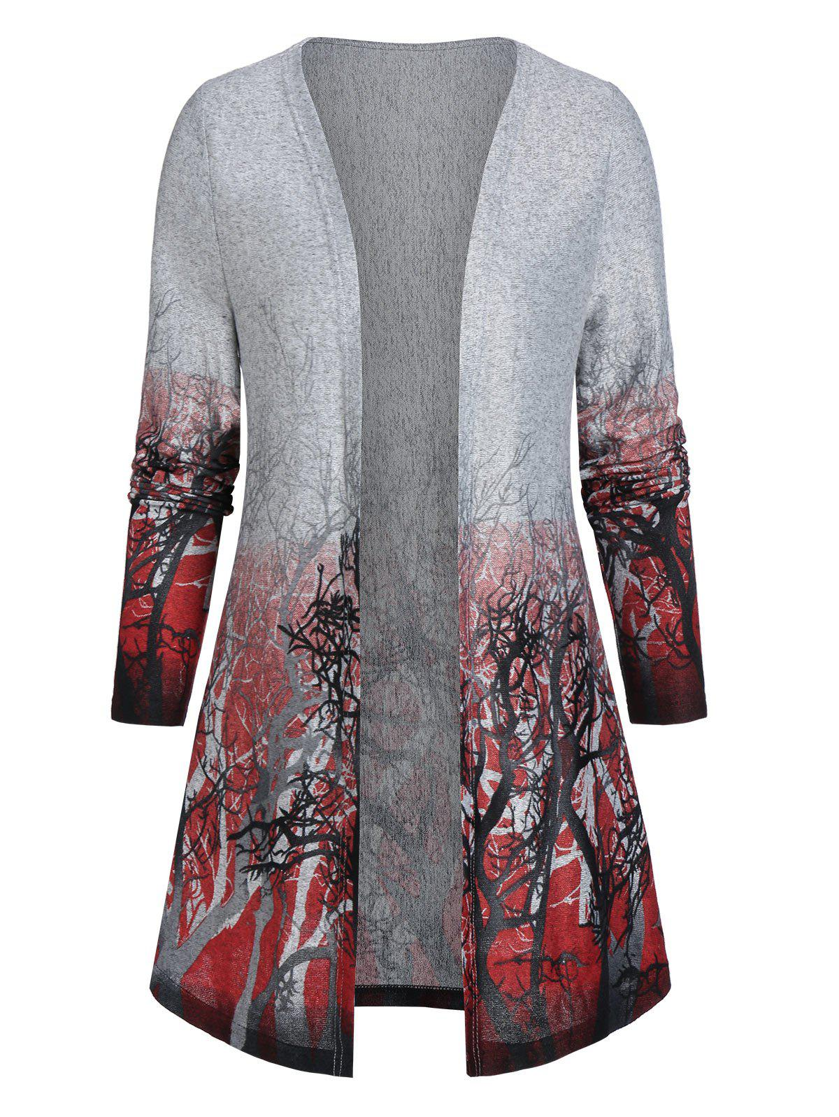 Shops Open Front Tree Print Tunic Cardigan