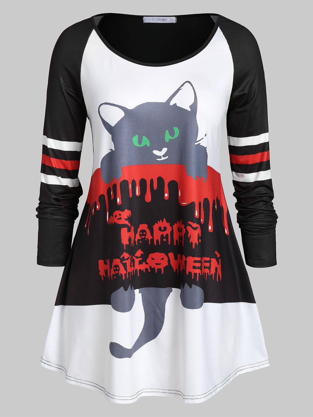 Shops Plus Size Long Sleeve Cat Print Round Collar T Shirt