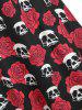 Skull Flower Print Sleeveless Halloween Dress -