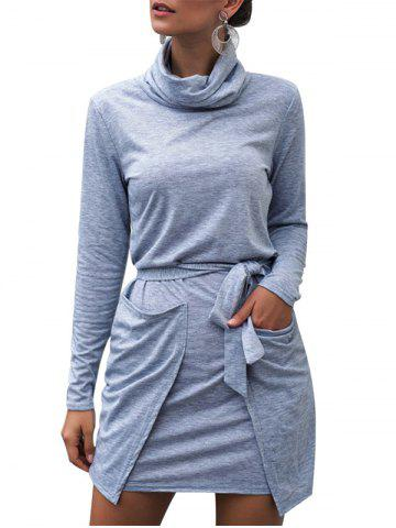 Turtleneck Heathered Belted Long Sleeves Dress