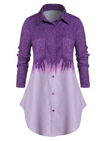 Plus Size Tie Dye Chest Pocket Button Up Curved Tunic Shirt
