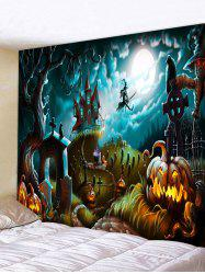 Halloween Pumpkin Castle Witch Pattern Print Tapestry -