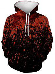 Halloween Splatter Blood Print Front Pocket Hoodie -
