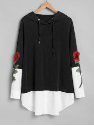 Plus Size Flower Embroidered Mixed Media Two Tone Hoodie -