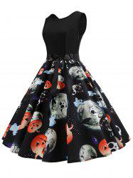 Halloween Pumpkin Ghost Print Sleeveless Party Dress -