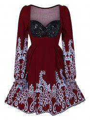 Sweetheart Neck Printed Fit And Flare Dress -