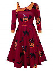 Pumpkin Print Skew Collar Fit And Flare Halloween Dress -