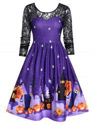 Halloween Lace Sleeve Vintage Pin Up Dress -