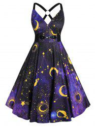 Plus Size 3D Galaxy Planet Criss Cross Vintage Party Dress -