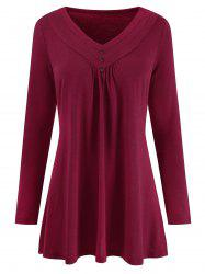 Mock Buttons Long Sleeves Solid Tee -