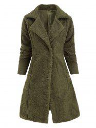 Lapel Drop Shoulder Faux Fur Longline Coat -