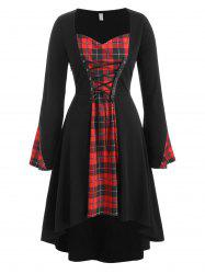 Plus Size Plaid Lace Up Gothic Halloween Tee -