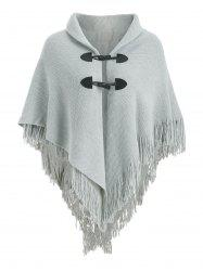Fringed Horn Button Poncho Plus Size Cardigan -