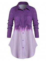 Plus Size Tie Dye Chest Pocket Button Up Curved Tunic Shirt -