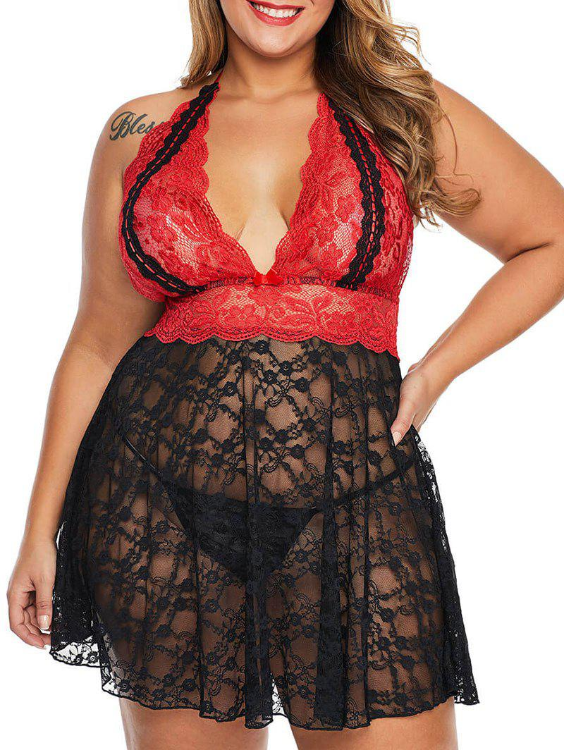 Discount Scalloped Color Block T Back Lace Plus Size Babydoll