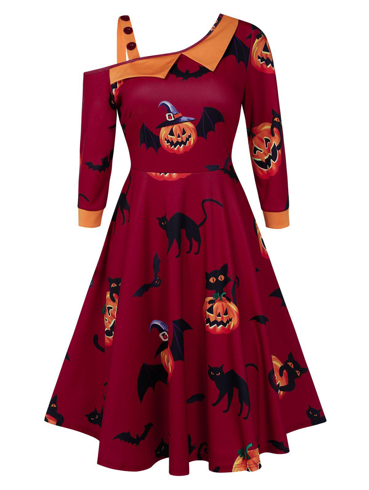 Fashion Pumpkin Print Skew Collar Fit And Flare Halloween Dress