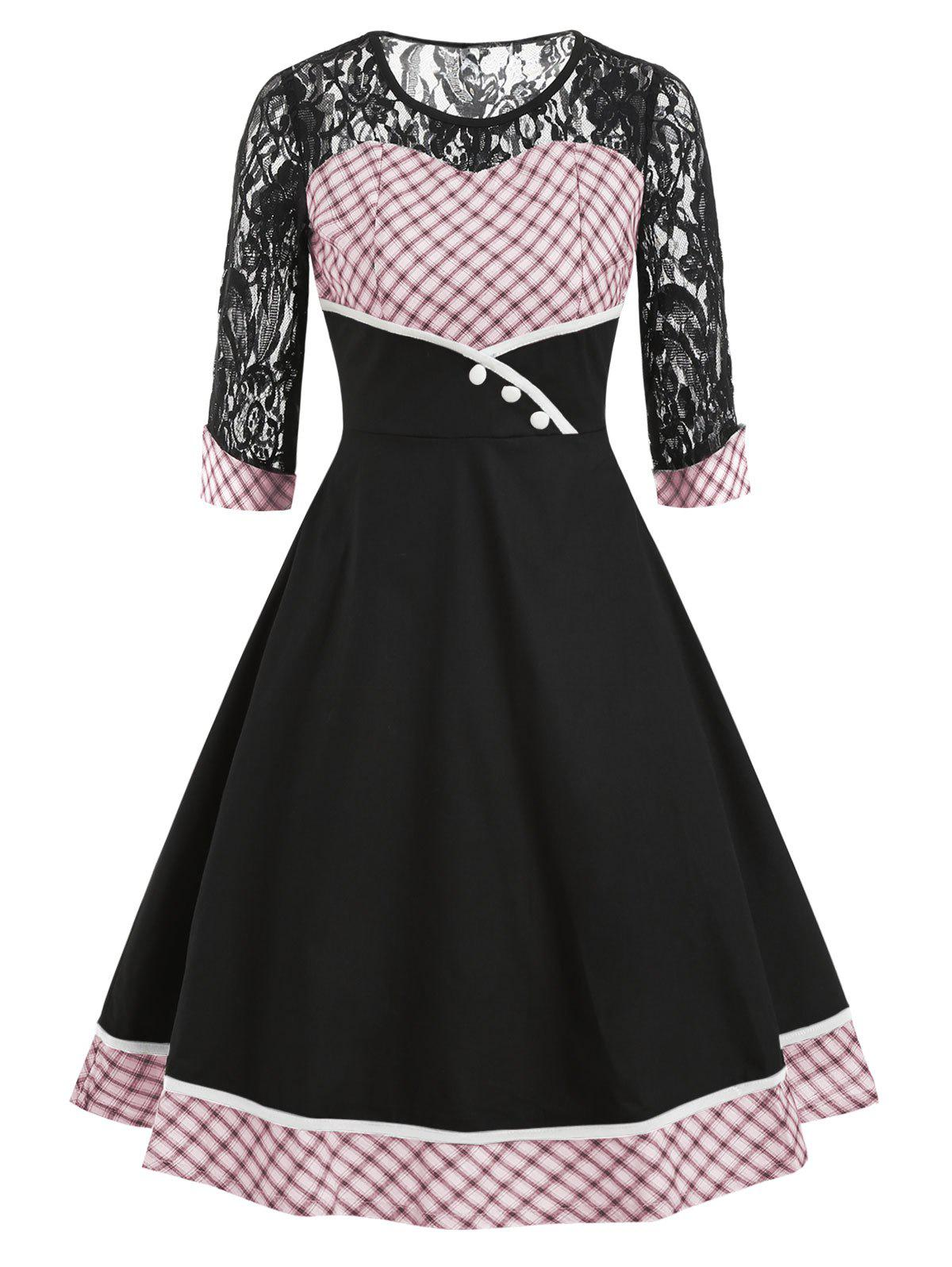 Chic Lace Panel Plaid Half Sleeves Flare Dress