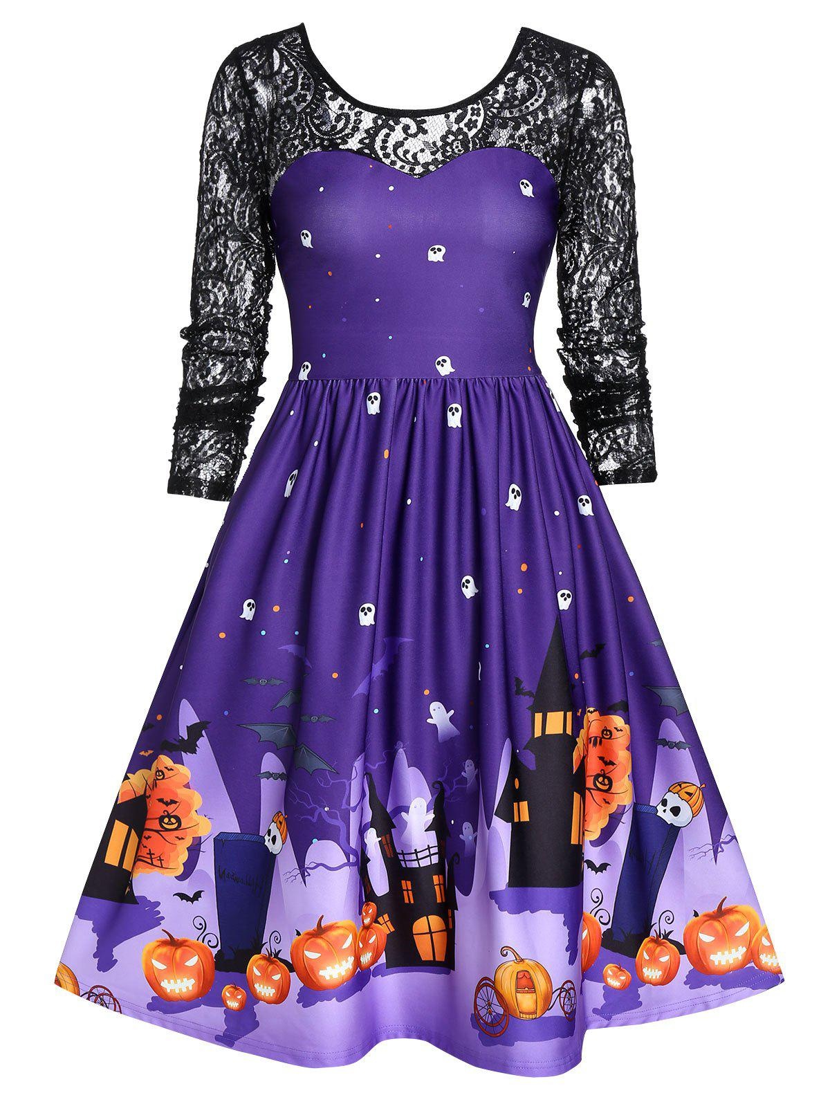 New Halloween Lace Sleeve Vintage Pin Up Dress