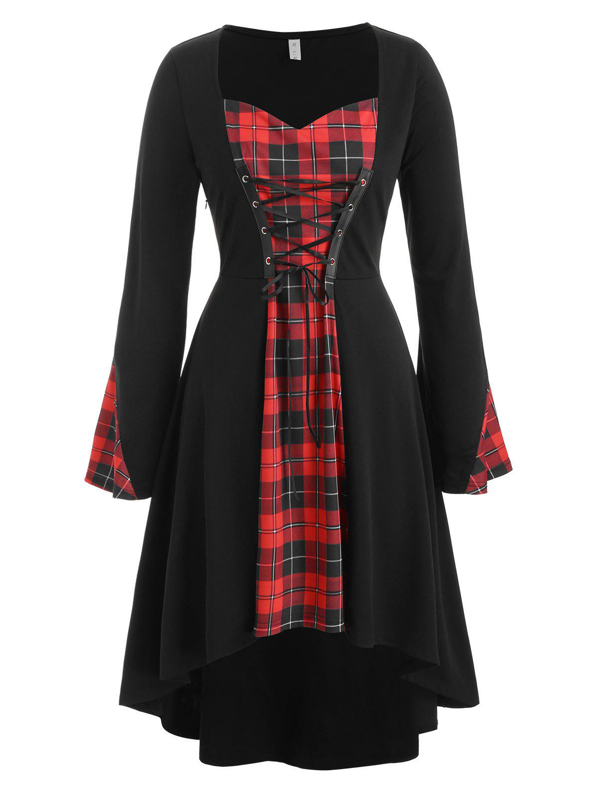 Discount Plus Size Plaid Lace Up Gothic Halloween Tee