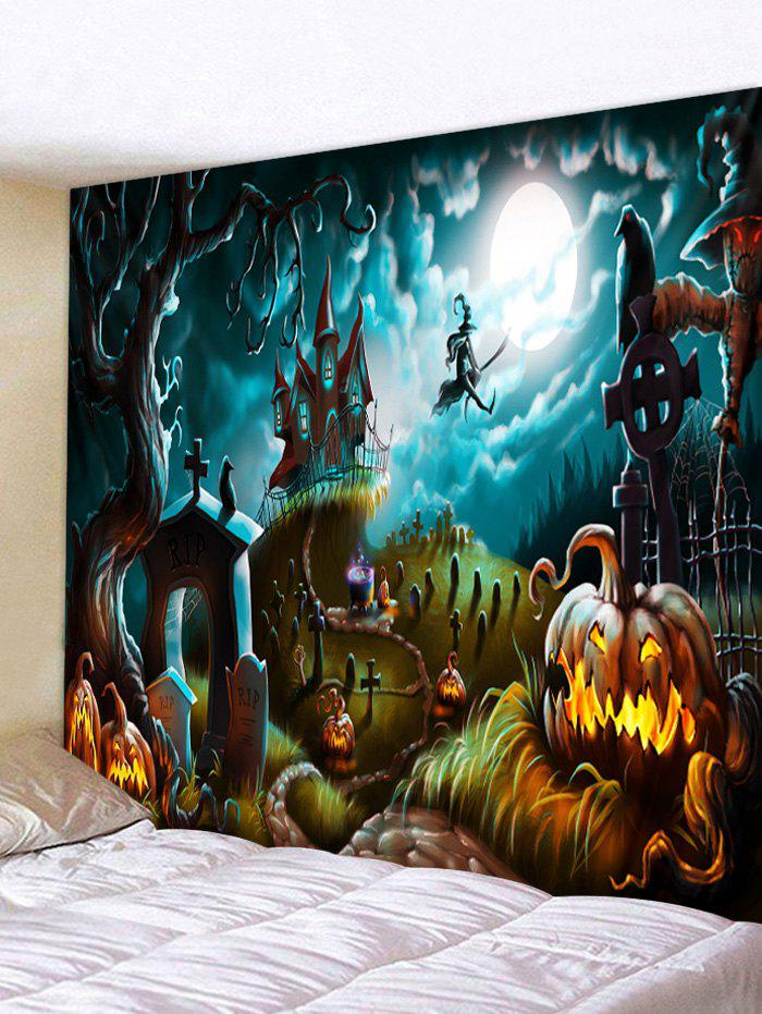Store Halloween Pumpkin Castle Witch Pattern Print Tapestry