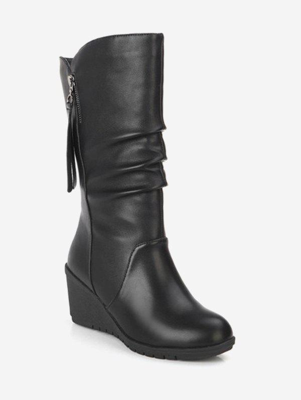 Fancy PU Leather Wedge Mid Calf Boots