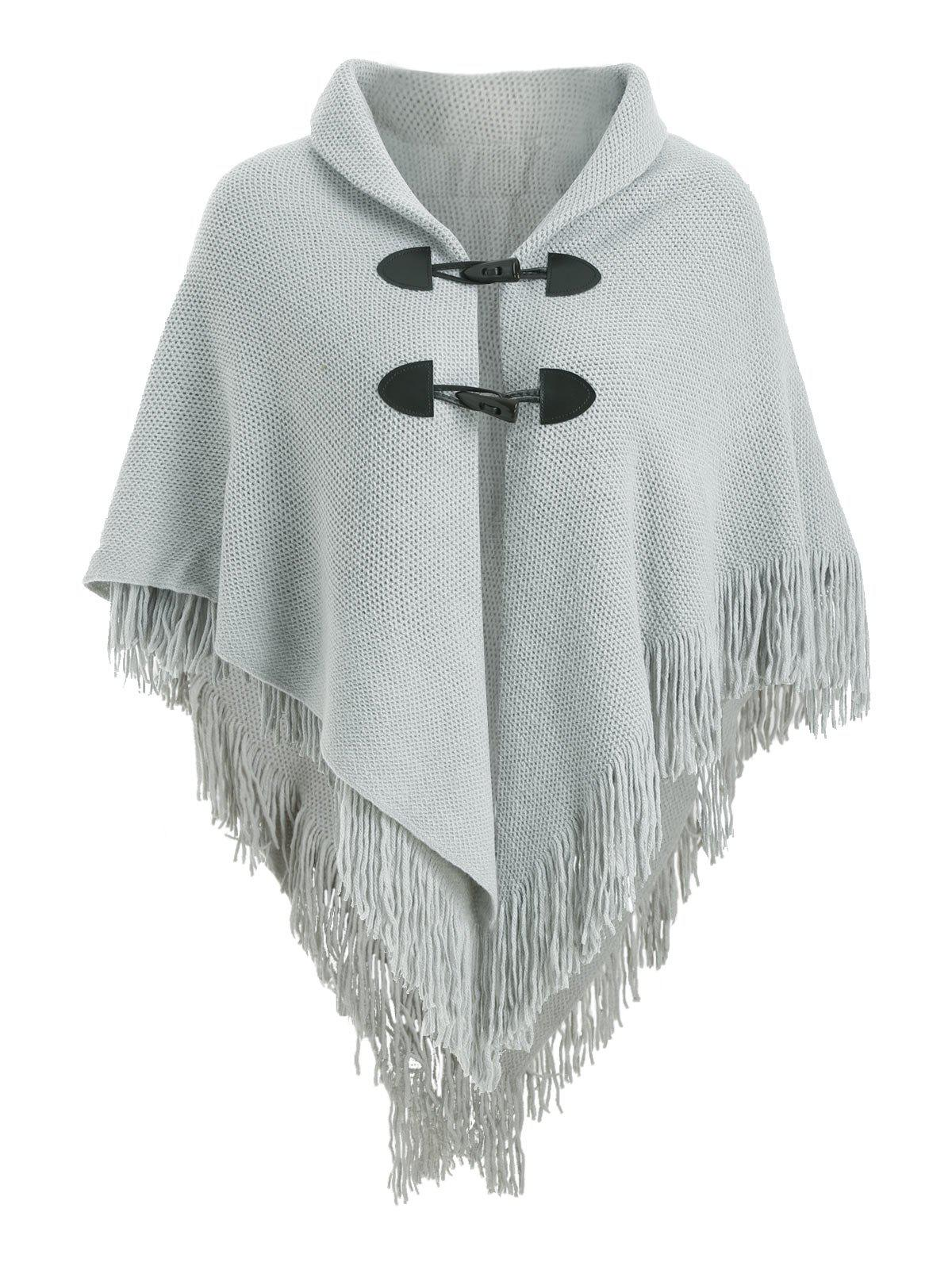 Buy Fringed Horn Button Poncho Plus Size Cardigan