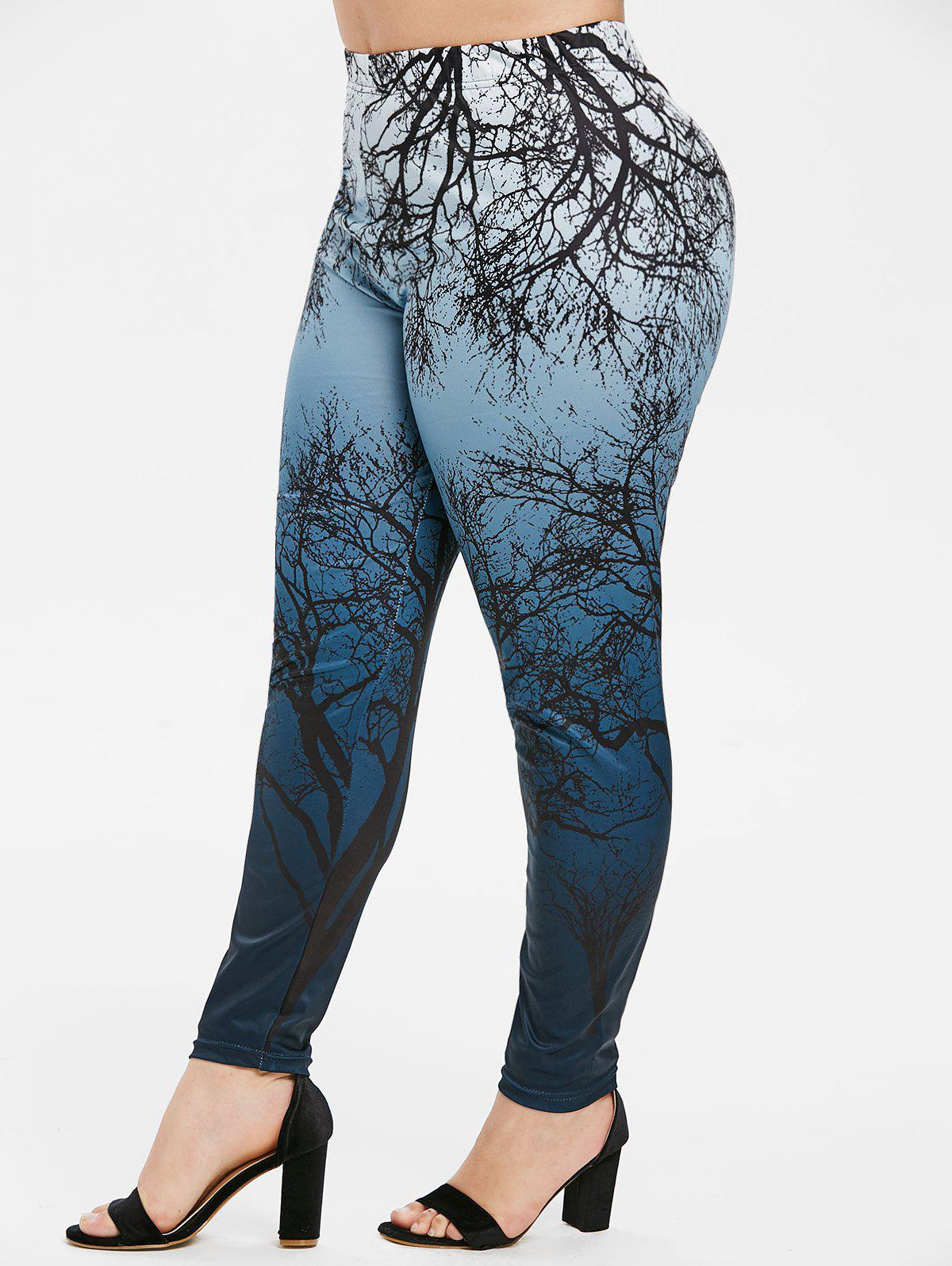 Discount Plus Size Ombre Tree Print Gothic Halloween Leggings