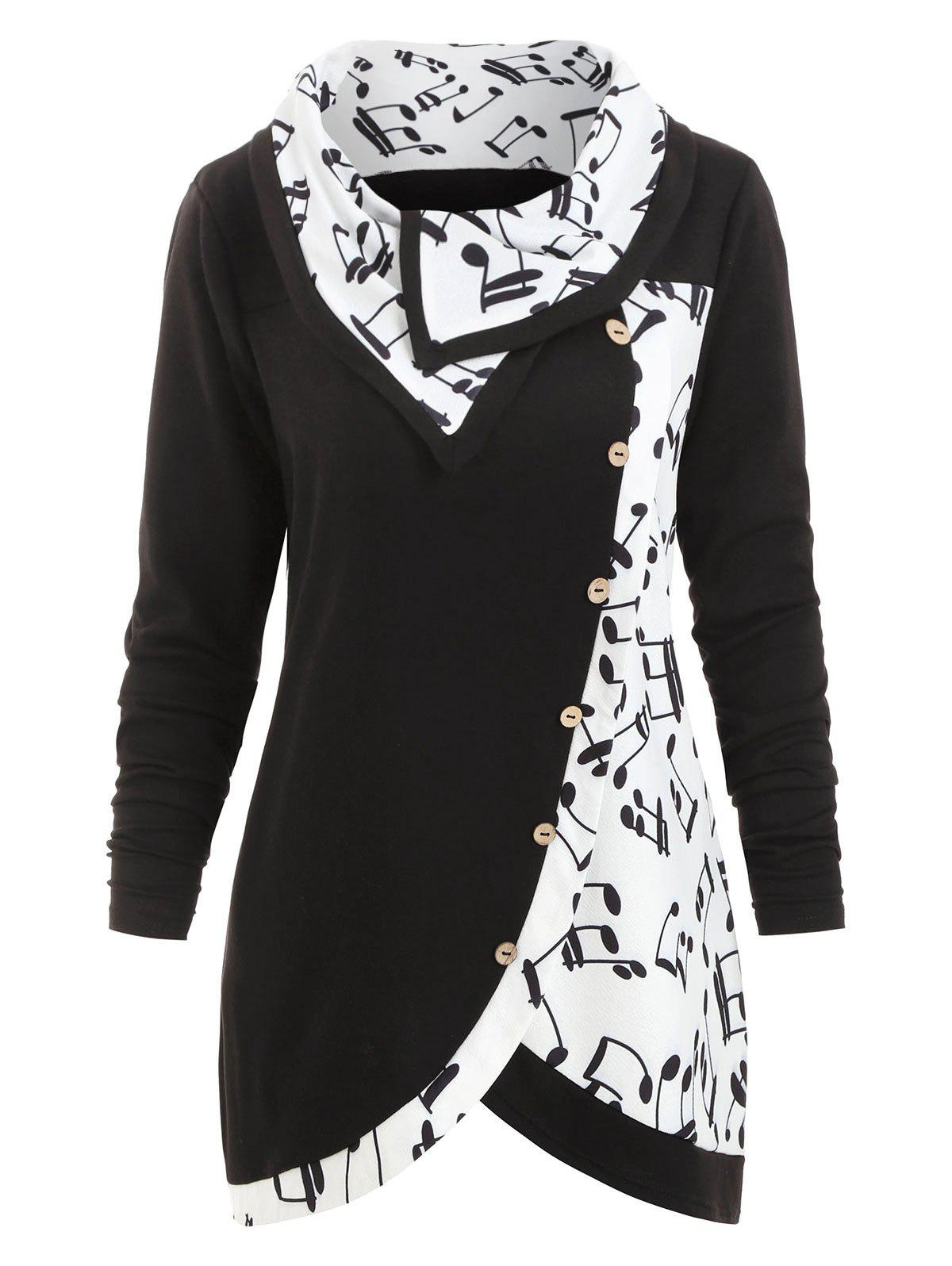 Trendy Plus Size Musical Notes Print Buttons Cowl Neck Sweatshirt