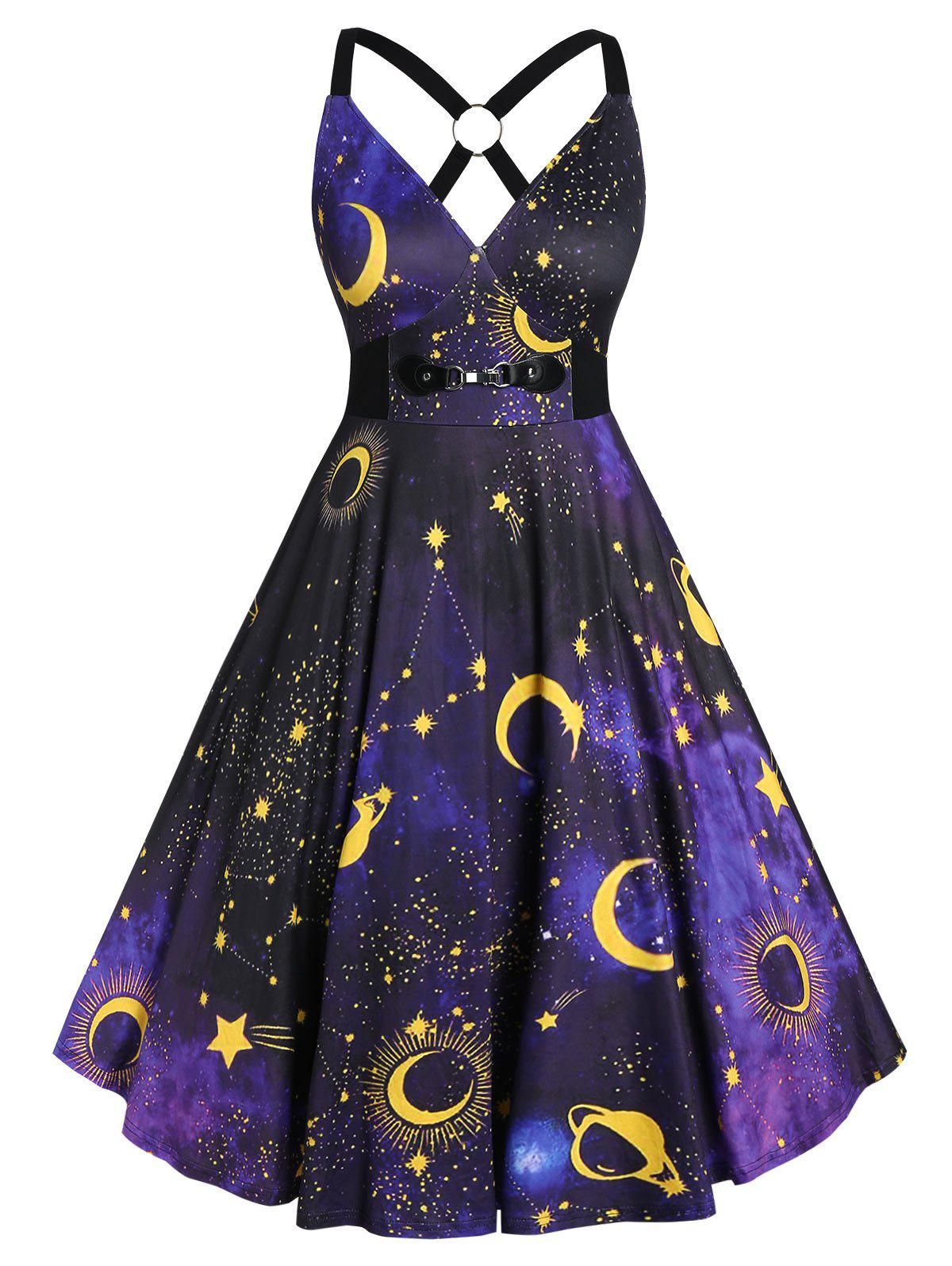 New Plus Size 3D Galaxy Planet Criss Cross Vintage Party Dress