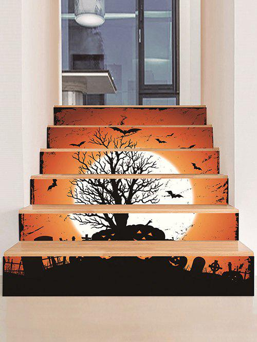 Outfit Halloween Bat Pumpkin Pattern Removable Stair Stickers