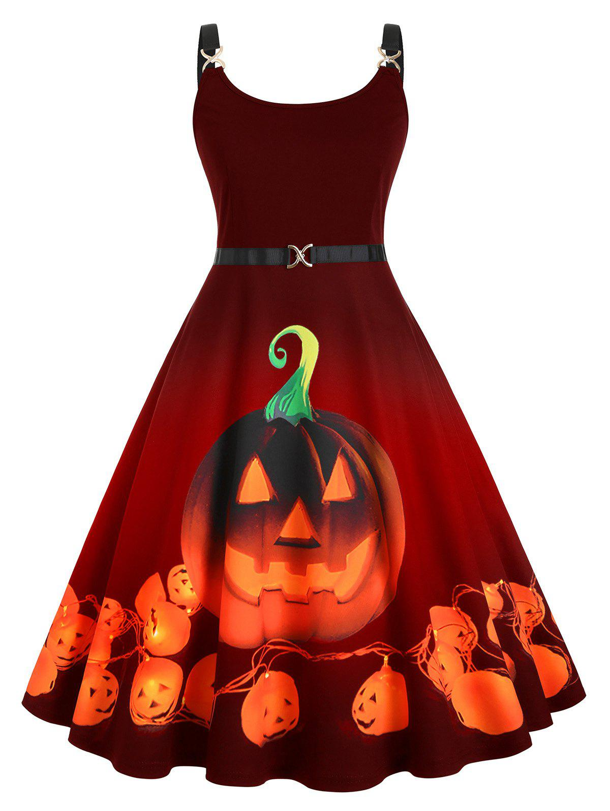 Affordable Straps Pumpkin Print Halloween Plus Size Vintage Dress