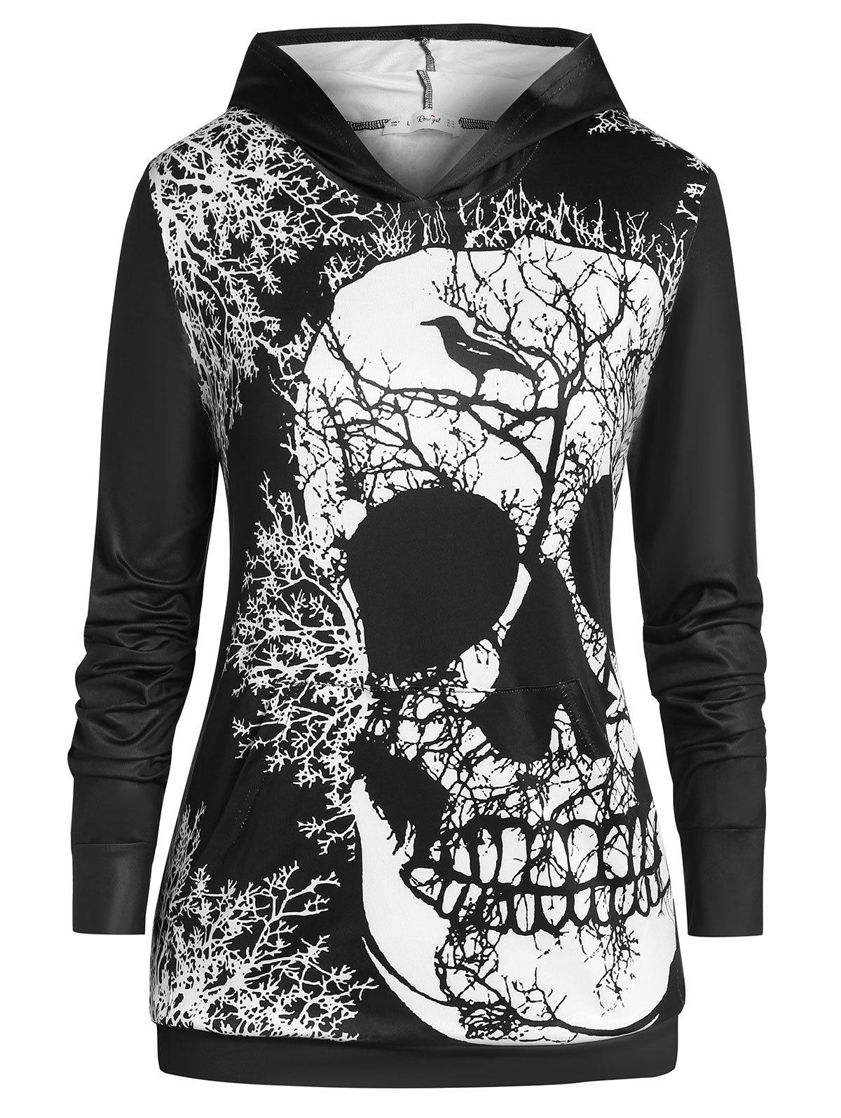 Cheap Plus Size Tunic Skull Print Long Sleeve Hoodie
