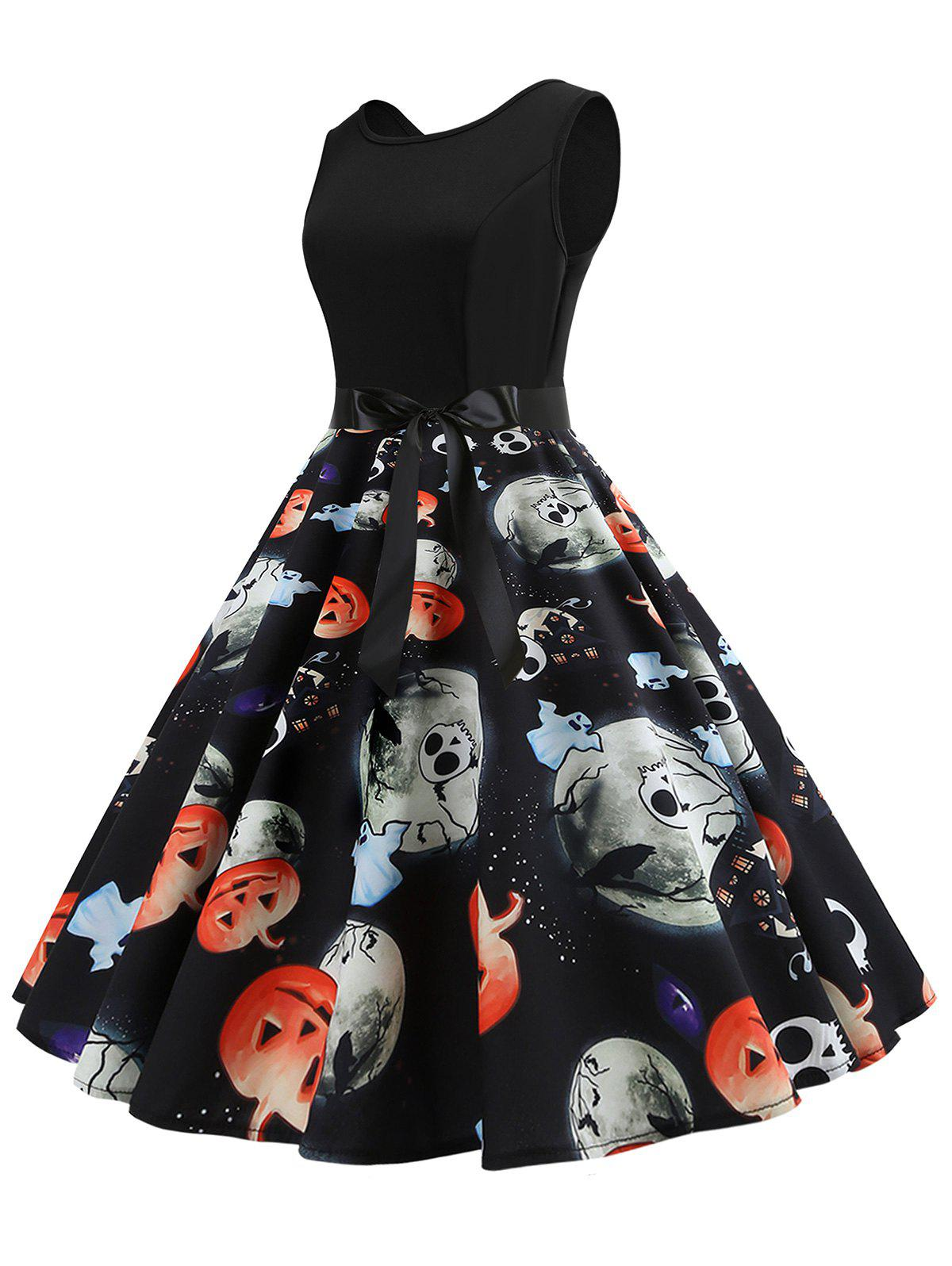 Outfit Halloween Pumpkin Ghost Print Sleeveless Party Dress